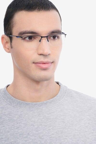 Oakley Socket 5.5 Satin Black & Blue Metal Eyeglass Frames for Men from EyeBuyDirect, Front View