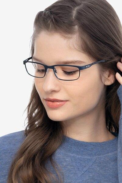 Oakley Steel Plate Powder Midnight Metal Eyeglass Frames for Women from EyeBuyDirect, Front View