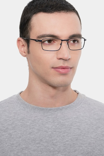 Oakley Fuller Matte Midnight Metal Eyeglass Frames for Men from EyeBuyDirect, Front View