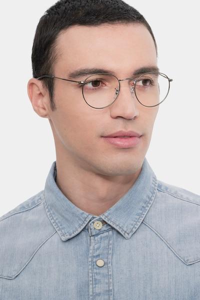 Ray-Ban RB3447V Gunmetal Metal Eyeglass Frames for Men from EyeBuyDirect, Front View