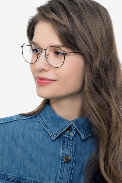 Ray-Ban RB3447V Gunmetal Metal Eyeglass Frames for Women from EyeBuyDirect, Front View