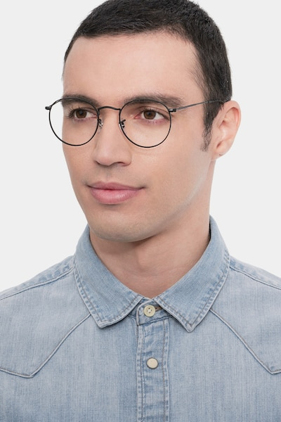 Ray-Ban RB3447V Black Metal Eyeglass Frames for Men from EyeBuyDirect, Front View