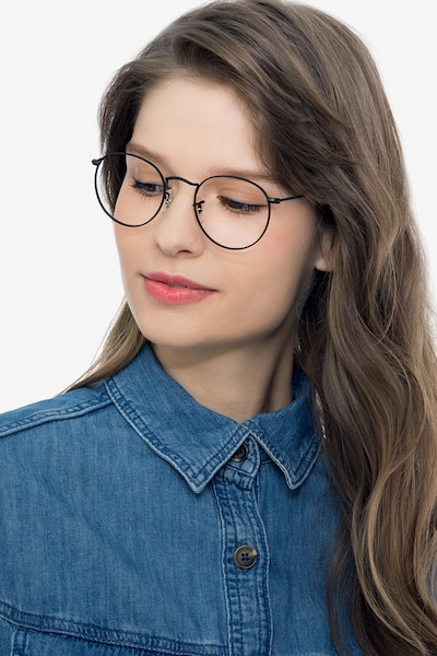 Ray-Ban RB3447V Black Metal Eyeglass Frames for Women from EyeBuyDirect, Front View