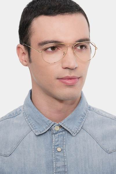 Ray-Ban RB6489 Gold Metal Eyeglass Frames for Men from EyeBuyDirect, Front View