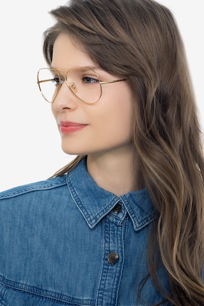 Ray-Ban RB6489 Gold Metal Eyeglass Frames for Women from EyeBuyDirect, Front View