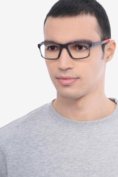 Oakley Hyperlink Satin Gray Smoke Plastic Eyeglass Frames for Men from EyeBuyDirect