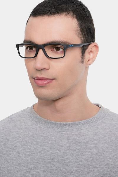 Oakley Plank 2.0 Satin Black Plastic Eyeglass Frames for Men from EyeBuyDirect, Front View