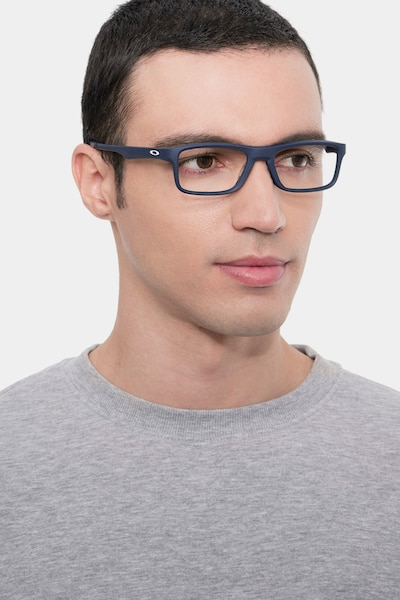 Oakley Plank 2.0 Universal Blue Plastic Eyeglass Frames for Men from EyeBuyDirect, Front View