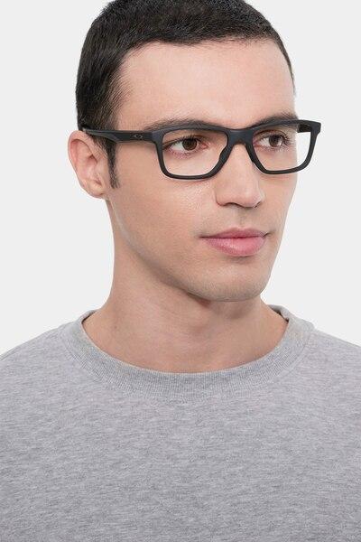 Oakley Trim Plane Satin Black Plastic Eyeglass Frames for Men from EyeBuyDirect, Front View