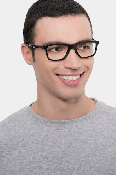 Oakley Trim Plane Polished Black Plastic Eyeglass Frames for Men from EyeBuyDirect, Front View
