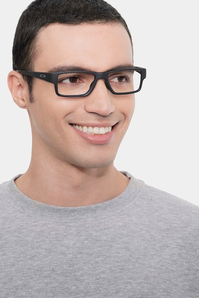 Oakley Airdrop Mnp Satin Black Plastic Eyeglass Frames for Men from EyeBuyDirect, Front View