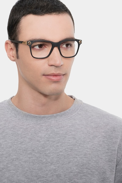 Oakley Apparition Satin Black Plastic Eyeglass Frames for Men from EyeBuyDirect, Front View