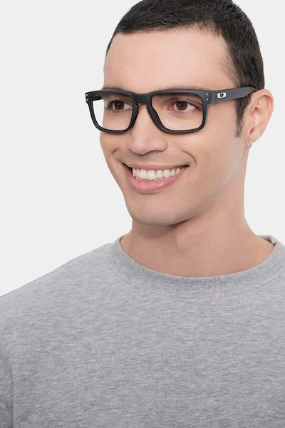 Oakley Holbrook Rx Satin Black Plastic Eyeglass Frames for Men from EyeBuyDirect, Front View