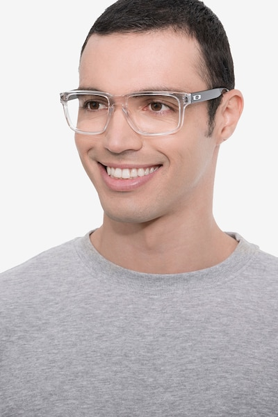 Oakley Holbrook Rx Polished Clear & Gray Plastic Eyeglass Frames for Men from EyeBuyDirect, Front View