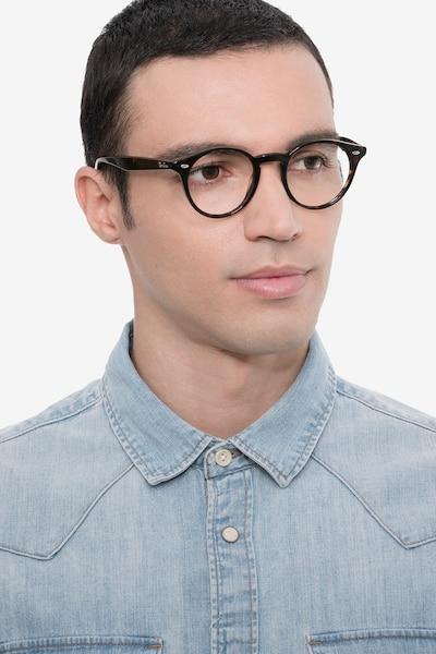 Ray-Ban RB2180V Tortoise Acetate Eyeglass Frames for Men from EyeBuyDirect, Front View