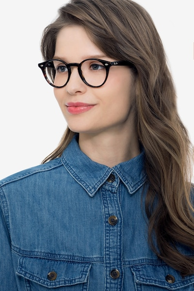 Ray-Ban RB2180V Tortoise Acetate Eyeglass Frames for Women from EyeBuyDirect, Front View