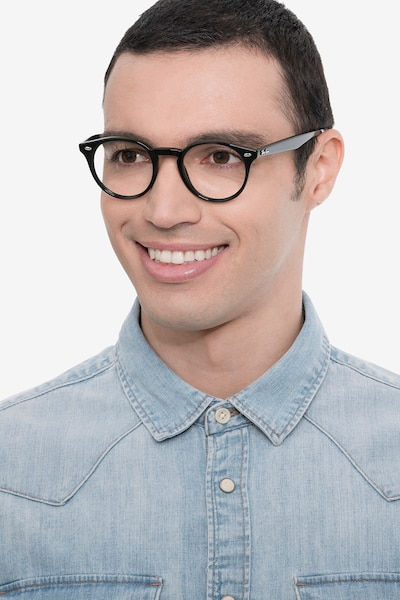 Ray-Ban RB2180V Black Acetate Eyeglass Frames for Men from EyeBuyDirect, Front View
