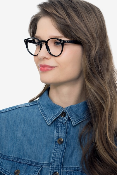 Ray-Ban RB2180V Black Acetate Eyeglass Frames for Women from EyeBuyDirect, Front View