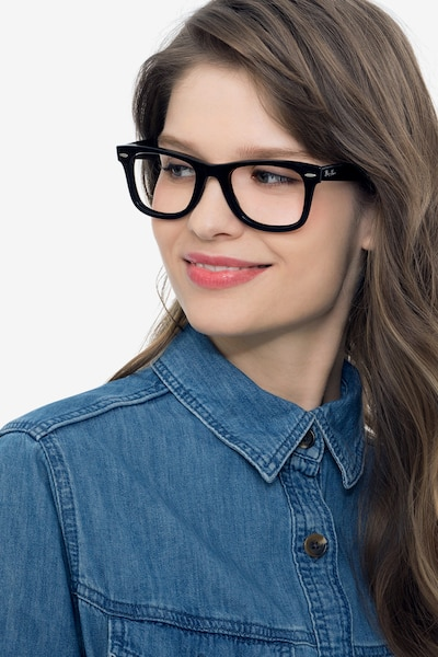 Ray-Ban RB4340V Black Plastic Eyeglass Frames for Women from EyeBuyDirect, Front View
