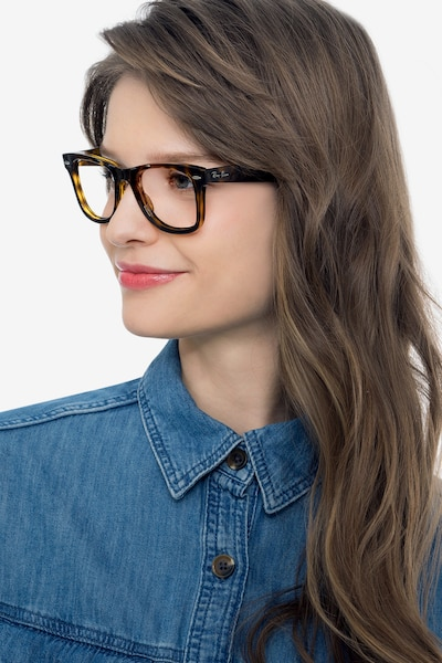 Ray-Ban RB4340V Tortoise Plastic Eyeglass Frames for Women from EyeBuyDirect, Front View