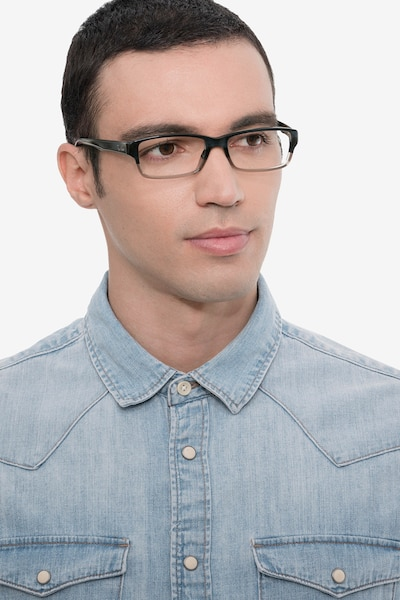 Ray-Ban RB5169 Black & Gray Acetate Eyeglass Frames for Men from EyeBuyDirect, Front View