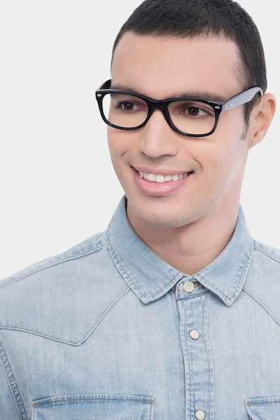 Ray-Ban RB5184 Black Acetate Eyeglass Frames for Men from EyeBuyDirect, Front View