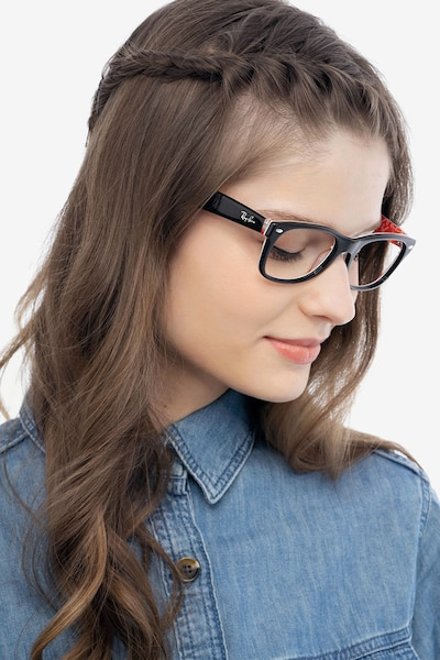 Ray-Ban RB5184 Black & Red Acetate Eyeglass Frames for Women from EyeBuyDirect, Front View
