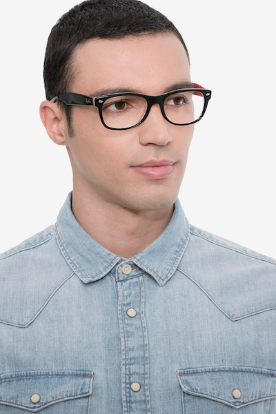 Ray-Ban RB5184 Black & Red Acetate Eyeglass Frames for Men from EyeBuyDirect, Front View