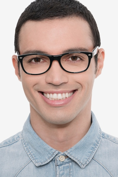 Ray-Ban RB5184 Black & Red Acetate Eyeglass Frames for Men from EyeBuyDirect
