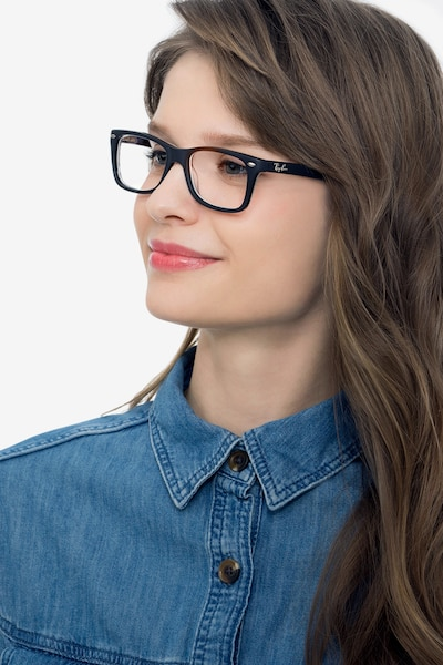 Ray-Ban RB5228 Black & Gray Acetate Eyeglass Frames for Women from EyeBuyDirect