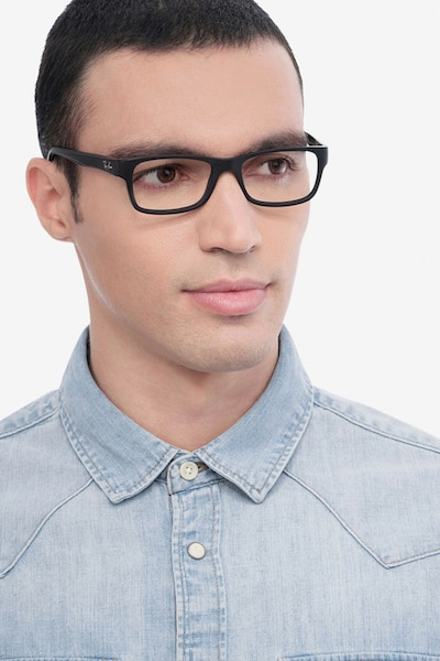 Ray-Ban RB5268 Matte Black Acetate Eyeglass Frames for Men from EyeBuyDirect, Front View