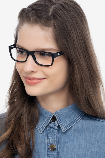 Ray-Ban RB5268 Matte Black Acetate Eyeglass Frames for Women from EyeBuyDirect, Front View