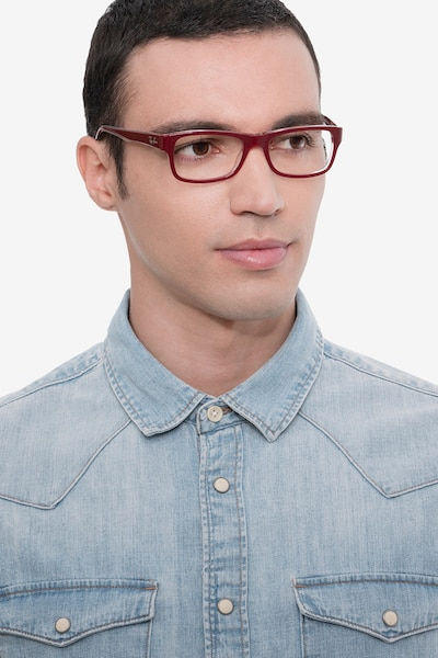 Ray-Ban RB5268 Red Acetate Eyeglass Frames for Men from EyeBuyDirect, Front View
