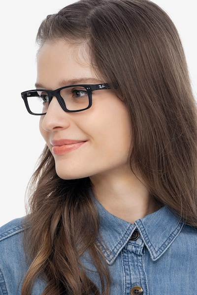 Ray-Ban RB5277 Matte Black Acetate Eyeglass Frames for Women from EyeBuyDirect, Front View
