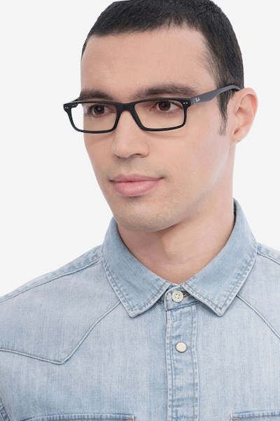 Ray-Ban RB5277 Matte Black Acetate Eyeglass Frames for Men from EyeBuyDirect