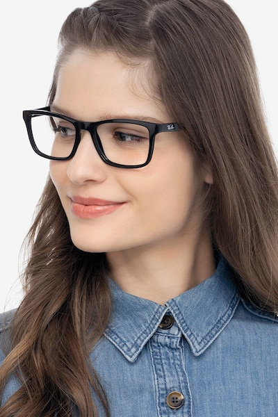 Ray-Ban RB5279 Black Acetate Eyeglass Frames for Women from EyeBuyDirect, Front View