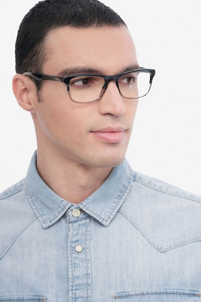 Ray-Ban RB5279 Black & Gray Acetate Eyeglass Frames for Men from EyeBuyDirect, Front View