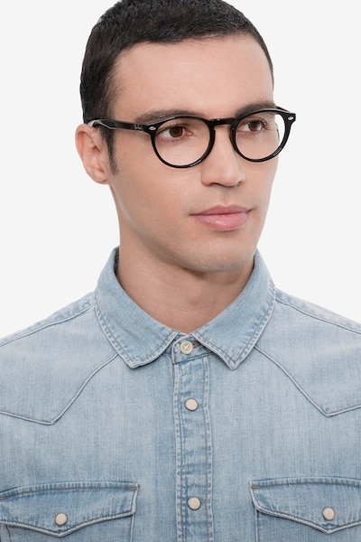 Ray-Ban RB5283 Black Acetate Eyeglass Frames for Men from EyeBuyDirect, Front View
