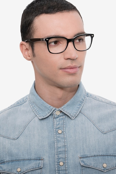 Ray-Ban RB5285 Black Acetate Eyeglass Frames for Men from EyeBuyDirect, Front View