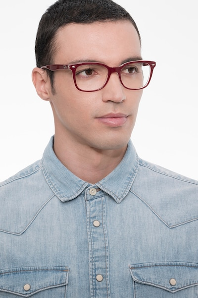 Ray-Ban RB5285 Burgundy Acetate Eyeglass Frames for Men from EyeBuyDirect, Front View