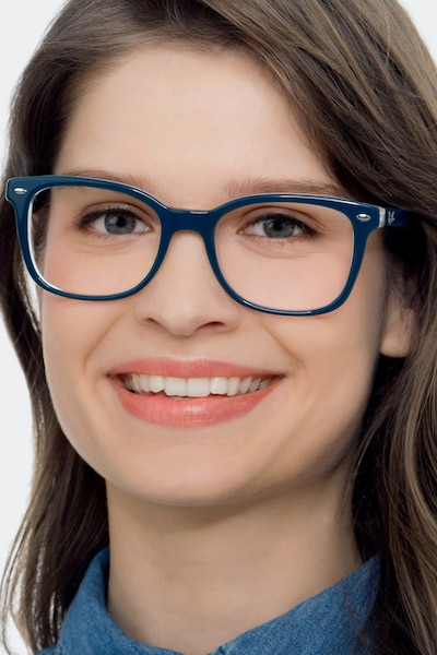 Ray-Ban RB5285 Blue Acetate Eyeglass Frames for Women from EyeBuyDirect