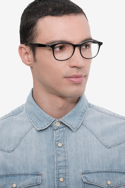 Ray-Ban RB5356 Black Acetate Eyeglass Frames for Men from EyeBuyDirect, Front View