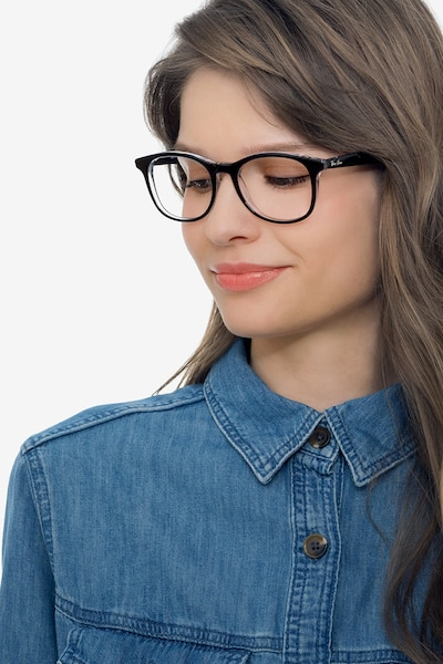 Ray-Ban RB5356 Black Acetate Eyeglass Frames for Women from EyeBuyDirect, Front View