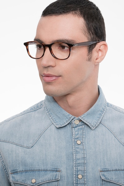 Ray-Ban RB5356 Tortoise & Gray Acetate Eyeglass Frames for Men from EyeBuyDirect, Front View