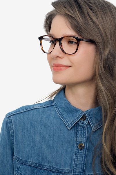 Ray-Ban RB5356 Tortoise & Gray Acetate Eyeglass Frames for Women from EyeBuyDirect, Front View
