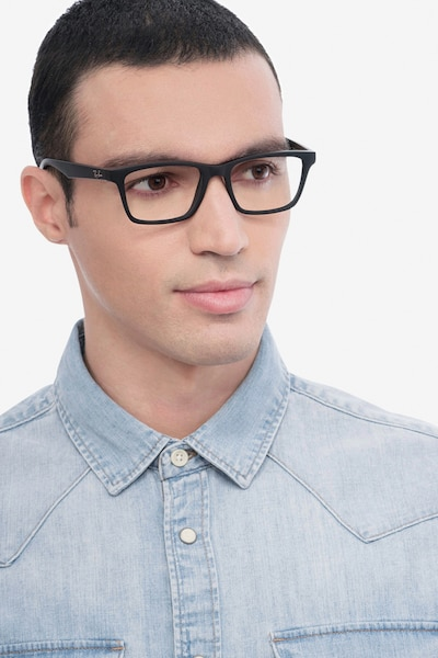 Ray-Ban RB7025 Black Plastic Eyeglass Frames for Men from EyeBuyDirect, Front View