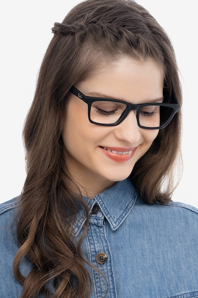 Ray-Ban RB7025 Black Plastic Eyeglass Frames for Women from EyeBuyDirect, Front View