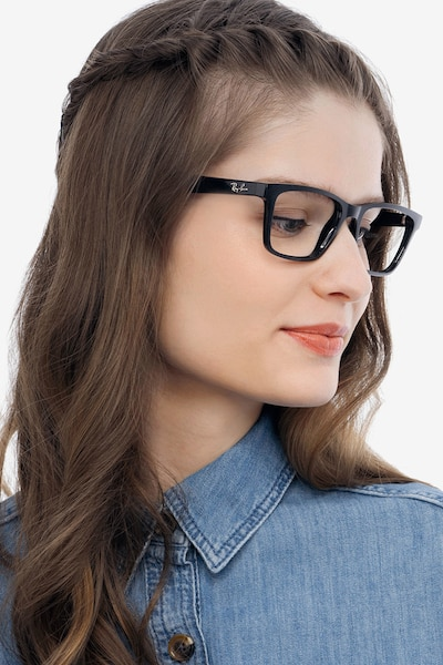 Ray-Ban RB7025 Shiny Black Plastic Eyeglass Frames for Women from EyeBuyDirect, Front View