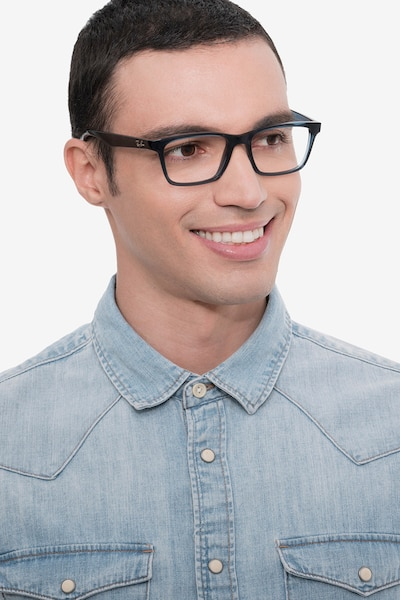 Ray-Ban RB7025 Blue Plastic Eyeglass Frames for Men from EyeBuyDirect, Front View