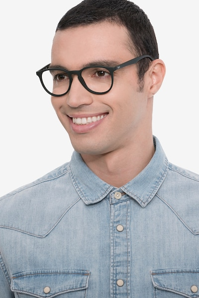 Ray-Ban RB7046 Black Plastic Eyeglass Frames for Men from EyeBuyDirect, Front View